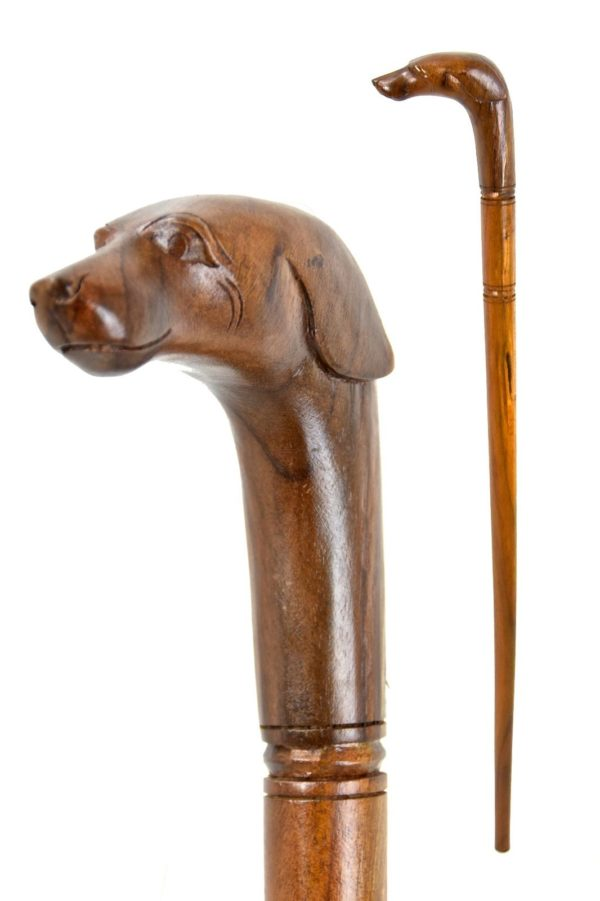 Dog wooden walking stick / cane – Hand carved from hardwood4