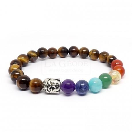 bracelet-oeil-de-tigre-et-7-chakras-avec-tete-de-bouddha