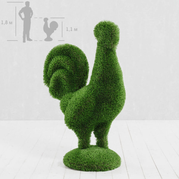 gartenfigur-hahn-aus-gfk-kunstrasen-topiary-helgo