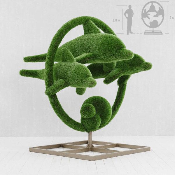 grosse-gartenplastik-delfine-gfk-kunstrasen-hecken-skulptur-flipper