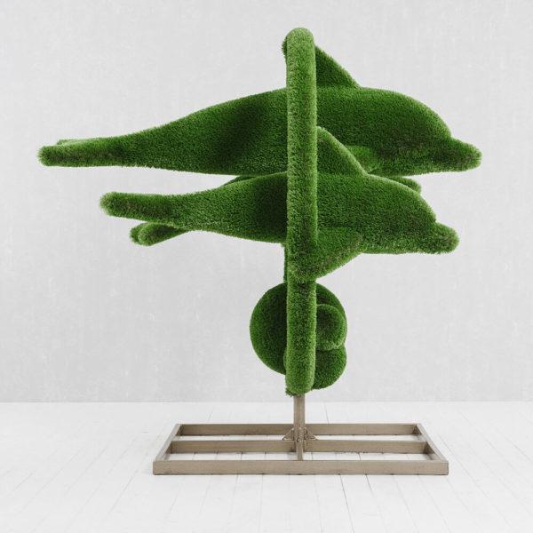 grosse-gartenplastik-delfine-gfk-kunstrasen-hecken-skulptur-flipper_2