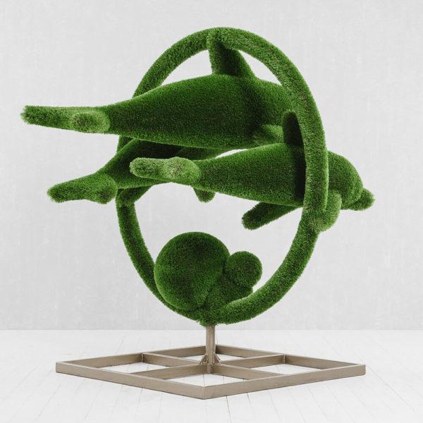 grosse-gartenplastik-delfine-gfk-kunstrasen-hecken-skulptur-flipper_3