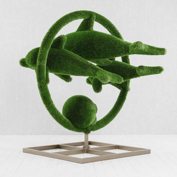 grosse-gartenplastik-delfine-gfk-kunstrasen-hecken-skulptur-flipper_4