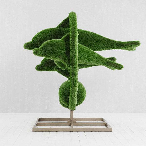 grosse-gartenplastik-delfine-gfk-kunstrasen-hecken-skulptur-flipper_5