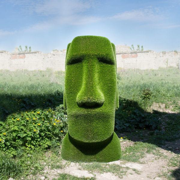 moai-kopf-gartenfigur-topiary-gfk-kunstrasen-idukan