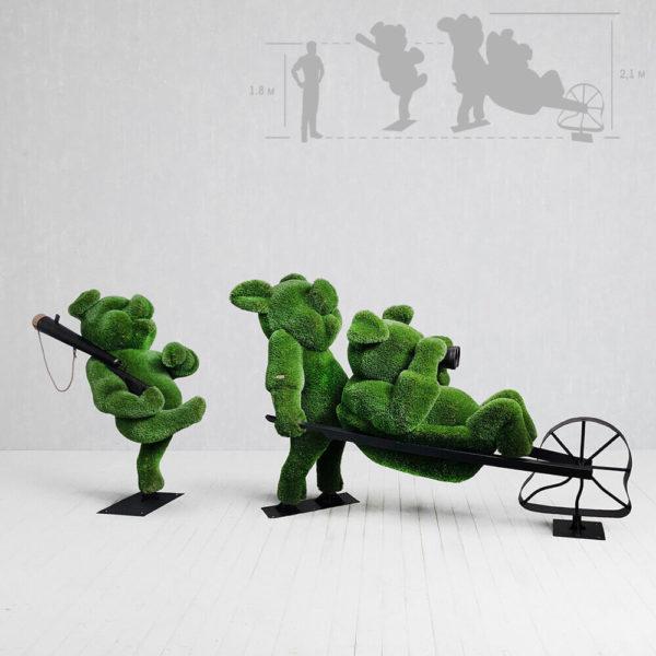 topiary-gartenfigur-schweinchen-aus-metall-gfk-kunstrasen-3-kleine-schweinchen
